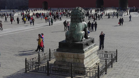 bronze lion in Forbidden City,China's royal ancient... Stock Video Footage