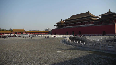 forbidden city & water moat bridge,China's royal architecture Footage
