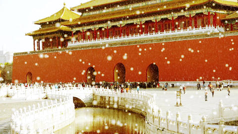 forbidden city & water moat bridge,China's royal architecture in snow Footage