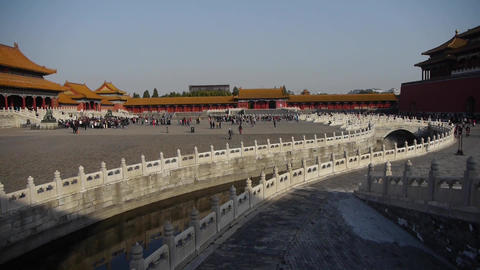 forbidden city & water moat bridge,China's royal... Stock Video Footage