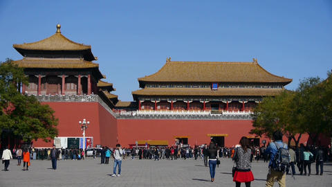 beijing forbidden city & tourist,China's royal... Stock Video Footage