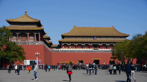 beijing forbidden city & tourist,China's royal architecture,Meridian Gate Footage