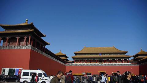 beijing timelapse forbidden city & tourist,China's... Stock Video Footage