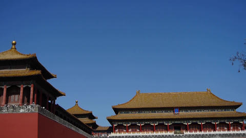 beijing forbidden city,red wall & golden roof,China's royal architecture Footage