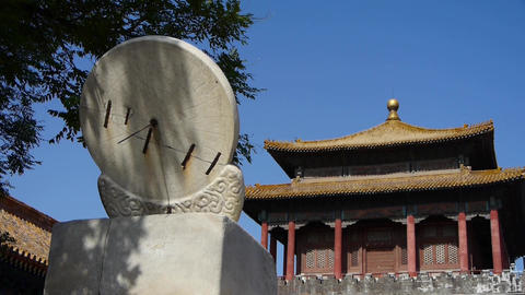 china ancient stone time measure instrument & forbidden city Footage