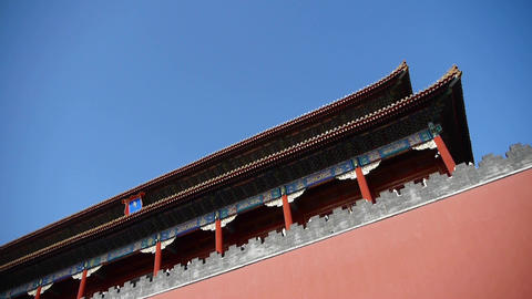 red beijing forbidden city wall,China's royal Meridian Gate Footage