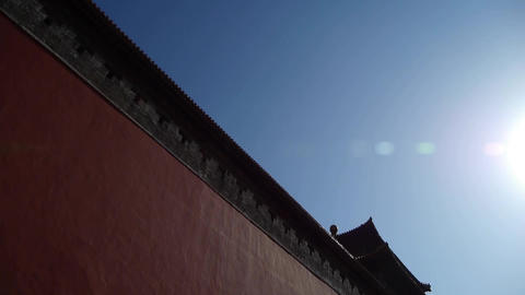 red beijing forbidden city wall with sun,China's royal... Stock Video Footage