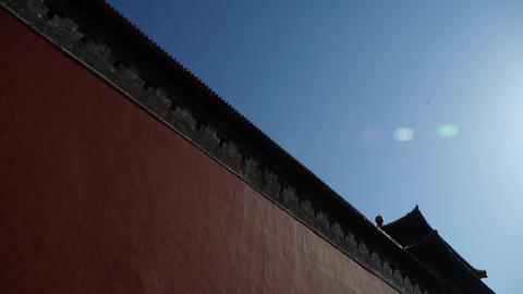 red beijing forbidden city wall with sun,China's royal Meridian Gate Footage