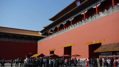 tourist enter beijing forbidden city,China's royal Meridian Gate Footage