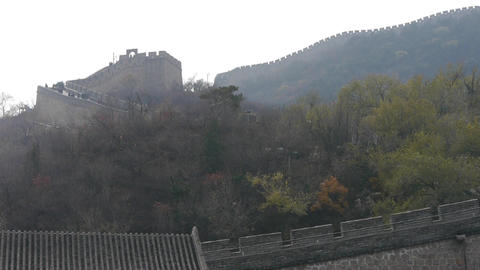 Great Wall on mountains,China's ancient architecture,fortress Footage
