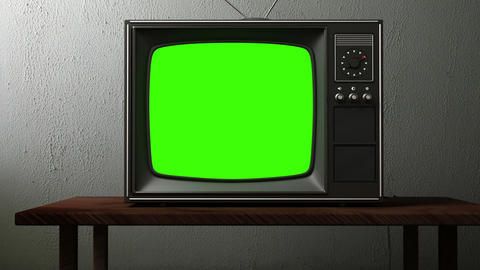 Old TV With A Green Screen stock footage