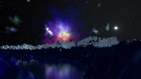 Nebula is reflected in the mountain lake Animation