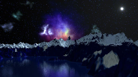 Nebula is reflected in the mountain lake Stock Video Footage