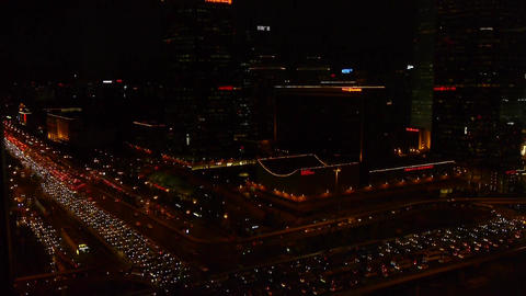 nighttime traffic pollution on overpass in Beijing Stock Video Footage