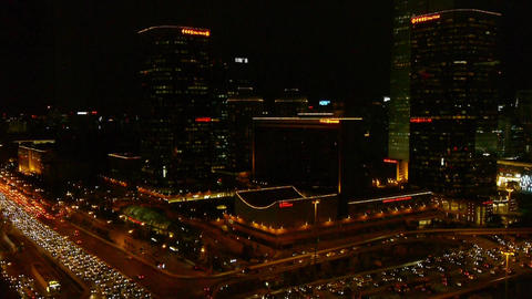 night traffic pollution in Beijing,video camera moving... Stock Video Footage
