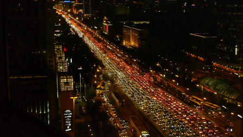 night traffic pollution in city,cars jam troop on busy... Stock Video Footage