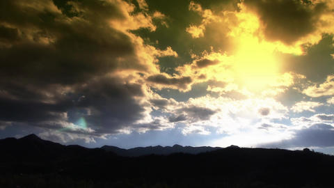 Panoramic of sunny mountains in fall autumn,Altocumulus cloud in dusk sky Footage