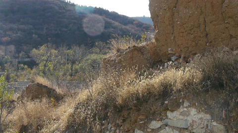 ancient great wall ruins,sunny mountains in fall Stock Video Footage