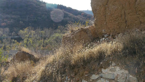 Ancient Great Wall Ruins,sunny Mountains In Fall. stock footage