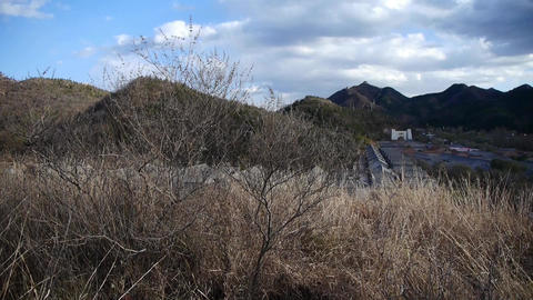 Panoramic of village grass mountains in... Stock Video Footage