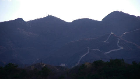 Panoramic of the Great Wall hill mountains,China Chinese elements Footage