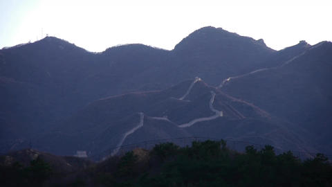 Panoramic of the Great Wall hill mountains,China Chinese... Stock Video Footage