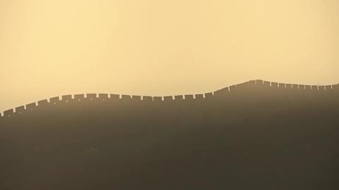 Great Wall on mountain peak hill ridge & Battlements... Stock Video Footage