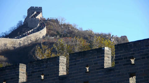 Great Wall on mountain peak,China ancient architecture,fortress battlements wall Live Action