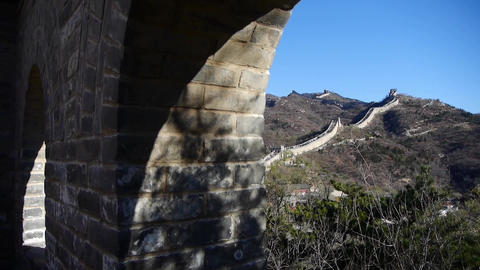 view Great wall from battlements lookouts,China ancient defense engineering Footage