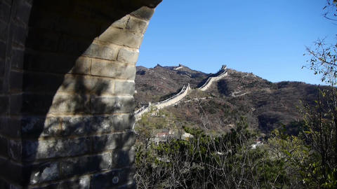 view Great wall from battlements lookouts,China ancient... Stock Video Footage
