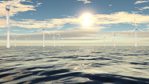 Windmills in a row on cloudy sea Stock Video Footage