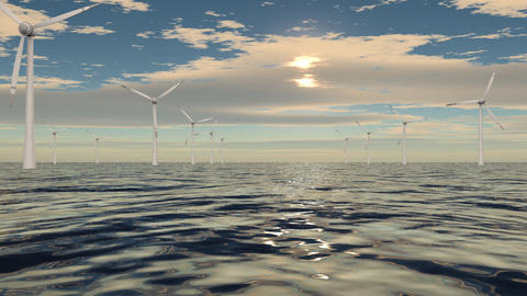 Windmills In A Row On Cloudy Sea stock footage