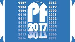 New year 2017 video clip. Animated symbol PF 2017, elegant modern light blue cor Animation