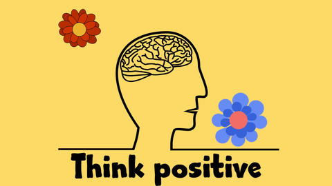 Motivation slide, video with drawing on human brain, think positive, ideas depic Animation