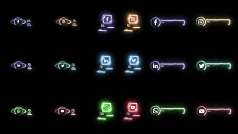 Neon Social Media Lower Thirds After Effects Template