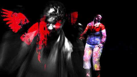 4K Red Female Angel Silhouette Across a black background and Horror Zombie With Effects Animation