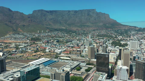 Scenic aerial wide drone shot above central Cape Town, South Africa with scenic Live Action