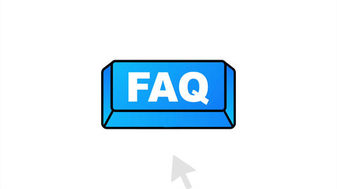 Faq with cursor button. Internet icon. Pointer click icon. stock illustration Animation