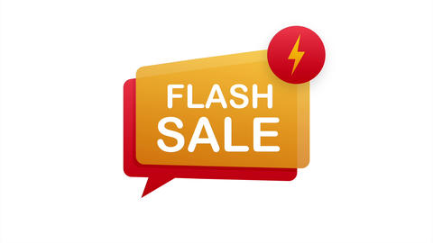 Flash sale. Flash ribbon banner, scroll, price tag, sticker, badge, poster Animation
