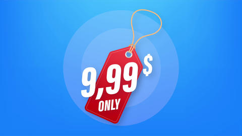 Discount sticker. Template with 99 only. template design. Sale, price tag. Sale Animation