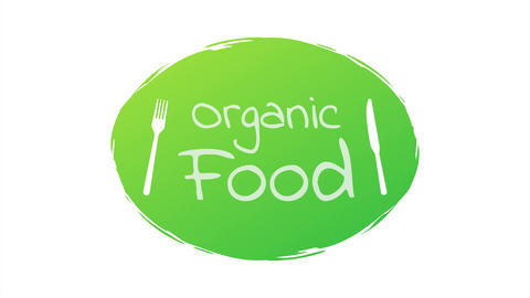 Organic food. Healthy food labels with lettering. Vegan food stickers. Organic Animation