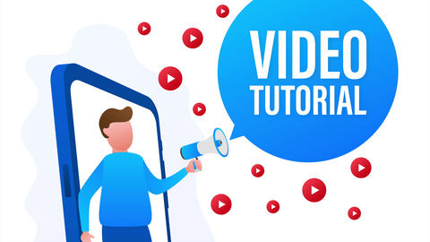 Video tutorials icon concept. Study and learning background, distance education Animation