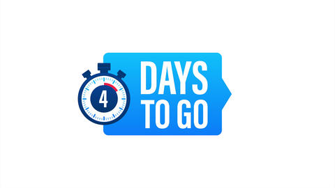 1 Day to go. Countdown timer. Clock icon. Time icon. Count time sale. stock Animation