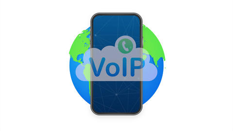 VoIP technology, voice over IP. Internet calling banner. illustration Animation