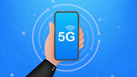 5G network wireless systems and internet. Communication network. illustration Animation