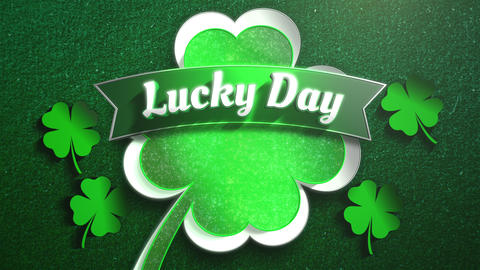 Animation closeup Lucky Day text and motion big green shamrocks on Saint Patrick Day pattern Animation