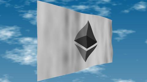 Ethereum - The logo flag is fluttering Animation