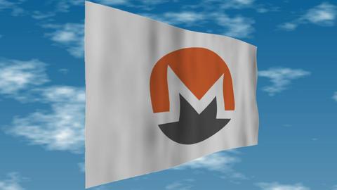 Monero - The logo flag is fluttering Animation