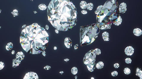 Full HD realistic shiny falling diamonds in black space background. 3d rendered backdrop Animation