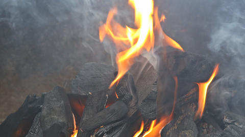 Charcoal prepare for food grill hot burning coals in ash Live Action